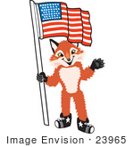 #23965 Clipart Picture Of A Fox Mascot Cartoon Character Pledging Allegiance To An American Flag
