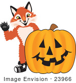 #23966 Clipart Picture Of A Fox Mascot Cartoon Character With A Carved Halloween Pumpkin