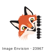 #23967 Clipart Picture Of A Fox Mascot Cartoon Character Peeking Around A Corner