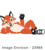 #23969 Clipart Picture Of A Fox Mascot Cartoon Character Resting His Head On His Hand