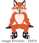 #23970 Clipart Picture Of A Fox Mascot Cartoon Character Sitting