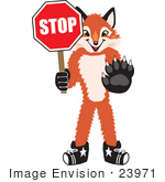 #23971 Clipart Picture Of A Fox Mascot Cartoon Character Holding A Stop Sign