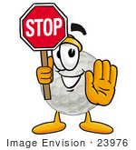 #23976 Clip Art Graphic Of A Golf Ball Cartoon Character Holding A Stop Sign