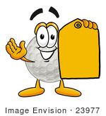 #23977 Clip Art Graphic Of A Golf Ball Cartoon Character Holding A Yellow Sales Price Tag