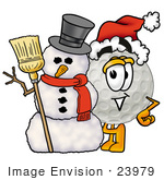 #23979 Clip Art Graphic Of A Golf Ball Cartoon Character With A Snowman On Christmas
