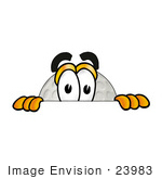 #23983 Clip Art Graphic Of A Golf Ball Cartoon Character Peeking Over A Surface