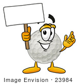 #23984 Clip Art Graphic Of A Golf Ball Cartoon Character Holding A Blank Sign