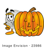 #23986 Clip Art Graphic Of A Golf Ball Cartoon Character With A Carved Halloween Pumpkin