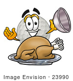 #23990 Clip Art Graphic Of A Golf Ball Cartoon Character Serving A Thanksgiving Turkey On A Platter