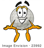 #23992 Clip Art Graphic Of A Golf Ball Cartoon Character Sitting