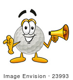 #23993 Clip Art Graphic Of A Golf Ball Cartoon Character Holding A Megaphone