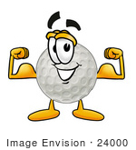 #24000 Clip Art Graphic Of A Golf Ball Cartoon Character Flexing His Arm Muscles