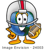 #24003 Clip Art Graphic Of A World Globe Cartoon Character In A Helmet Holding A Football