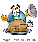 #24005 Clip Art Graphic Of A World Globe Cartoon Character Serving A Thanksgiving Turkey On A Platter