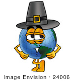 #24006 Clip Art Graphic Of A World Globe Cartoon Character Wearing A Pilgrim Hat On Thanksgiving