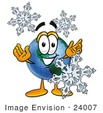 #24007 Clip Art Graphic Of A World Globe Cartoon Character With Three Snowflakes In Winter
