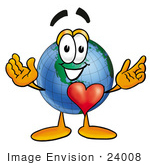 #24008 Clip Art Graphic Of A World Globe Cartoon Character With His Heart Beating Out Of His Chest