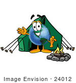 #24012 Clip Art Graphic Of A World Globe Cartoon Character Camping With A Tent And Fire