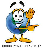 #24013 Clip Art Graphic Of A World Globe Cartoon Character Waving And Pointing