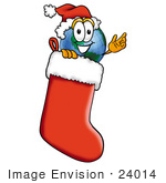 #24014 Clip Art Graphic Of A World Globe Cartoon Character Wearing A Santa Hat Inside A Red Christmas Stocking