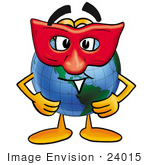 #24015 Clip Art Graphic Of A World Globe Cartoon Character Wearing A Red Mask Over His Face