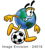 #24016 Clip Art Graphic of a World Globe Cartoon Character Kicking a Soccer Ball by toons4biz