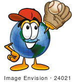 #24021 Clip Art Graphic Of A World Globe Cartoon Character Catching A Baseball With A Glove