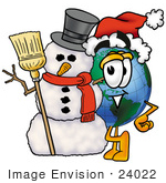 #24022 Clip Art Graphic Of A World Globe Cartoon Character With A Snowman On Christmas