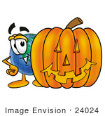 #24024 Clip Art Graphic Of A World Globe Cartoon Character With A Carved Halloween Pumpkin