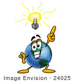 #24025 Clip Art Graphic of a World Globe Cartoon Character With a Bright Idea by toons4biz