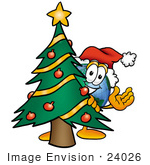 #24026 Clip Art Graphic Of A World Globe Cartoon Character Waving And Standing By A Decorated Christmas Tree