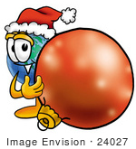 #24027 Clip Art Graphic Of A World Globe Cartoon Character Wearing A Santa Hat Standing With A Christmas Bauble