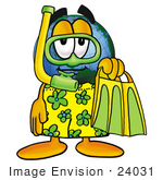#24031 Clip Art Graphic Of A World Globe Cartoon Character In Green And Yellow Snorkel Gear