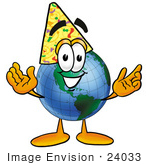 #24033 Clip Art Graphic Of A World Globe Cartoon Character Wearing A Birthday Party Hat
