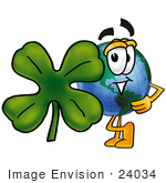 #24034 Clip Art Graphic Of A World Globe Cartoon Character With A Green Four Leaf Clover On St Paddy'S Or St Patricks Day
