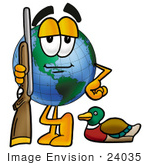#24035 Clip Art Graphic Of A World Globe Cartoon Character Duck Hunting Standing With A Rifle And Duck