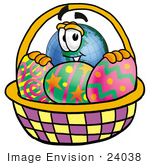 #24038 Clip Art Graphic Of A World Globe Cartoon Character In An Easter Basket Full Of Decorated Easter Eggs