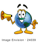 #24039 Clip Art Graphic Of A World Globe Cartoon Character Holding A Megaphone