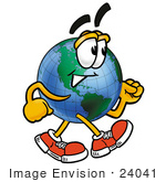 #24041 Clip Art Graphic Of A World Globe Cartoon Character Walking