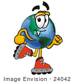 #24042 Clip Art Graphic Of A World Globe Cartoon Character Roller Blading On Inline Skates
