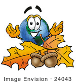 #24043 Clip Art Graphic Of A World Globe Cartoon Character With Autumn Leaves And Acorns In The Fall