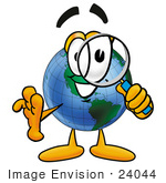 #24044 Clip Art Graphic Of A World Globe Cartoon Character Looking Through A Magnifying Glass