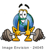 #24045 Clip Art Graphic Of A World Globe Cartoon Character Lifting A Heavy Barbell