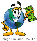 #24047 Clip Art Graphic Of A World Globe Cartoon Character Holding A Dollar Bill