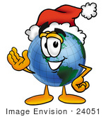 #24051 Clip Art Graphic of a World Globe Cartoon Character Wearing a Santa Hat and Waving by toons4biz