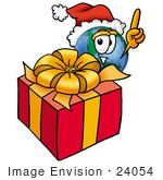 #24054 Clip Art Graphic Of A World Globe Cartoon Character Standing By A Christmas Present