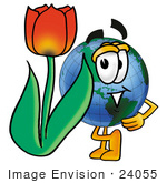 #24055 Clip Art Graphic Of A World Globe Cartoon Character With A Red Tulip Flower In The Spring