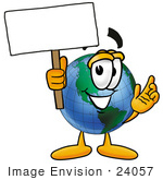 #24057 Clip Art Graphic Of A World Globe Cartoon Character Holding A Blank Sign