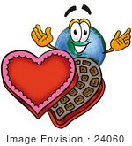 #24060 Clip Art Graphic Of A World Globe Cartoon Character With An Open Box Of Valentines Day Chocolate Candies