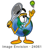 #24061 Clip Art Graphic Of A World Globe Cartoon Character Preparing To Hit A Tennis Ball